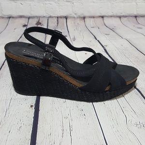Donald J Pliner Black Straw Wedge Sandal Heels 9.5
